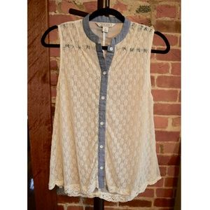 Lace white and blue tank top